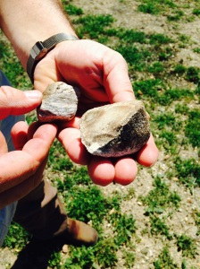 Michael Larner showing off chunks of chert